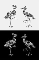 Heron set ornament, art vector