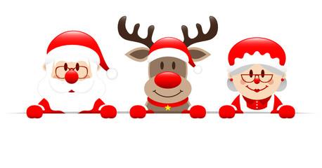 Santa, Rudolph & Mrs. Santa Banner