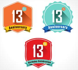13 year birthday celebration flat color vintage label badge