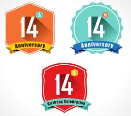 14 year birthday celebration flat color vintage label badge