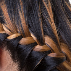 braid long hair style on woman head