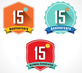 15 year birthday celebration flat color vintage label badge