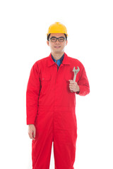 asian male engineer holding a wrench