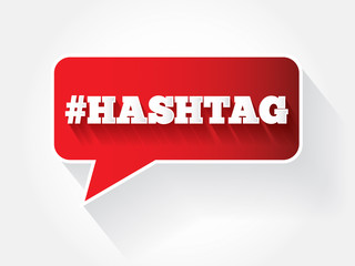 Hashtag sign text message bubble, vector background