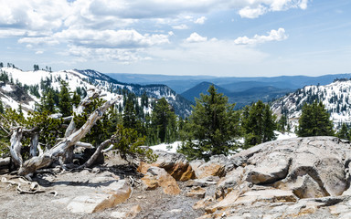 Winter panoramic view from Lassen Peak trail