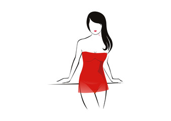 Sketch beautiful lingerie model vector