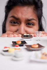 indian girl on a diet with micro foods