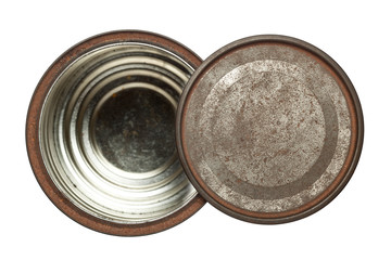 Rusty opened round tin box with lid isolated