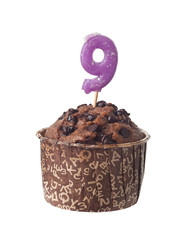 Chocolate muffin with candle for nine year old