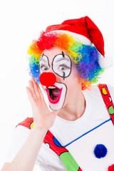clown macht eine durchsage