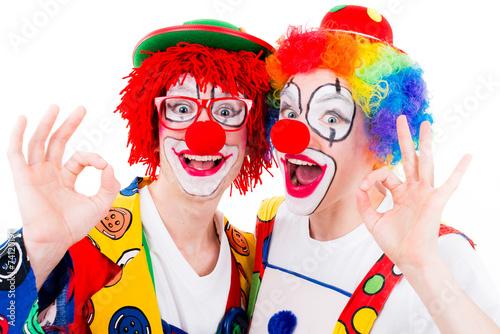 canvas print picture lachende clowns machen handzeigen