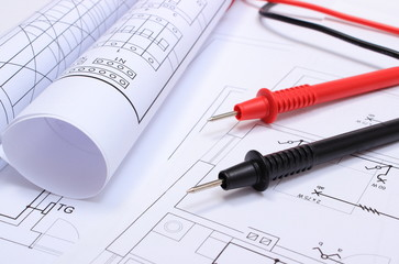 Electrical diagrams and cables of multimeter on drawing