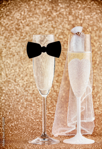 Celebrating a wedding with champagne