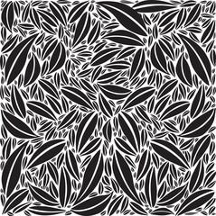Fond Motif Feuillage Composition en Noir / Blanc