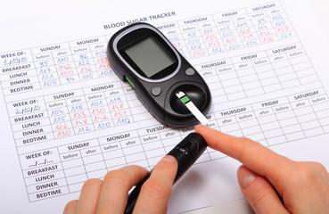 Test for determination level sugar and medical form