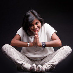 indian girl saluting with a namaste