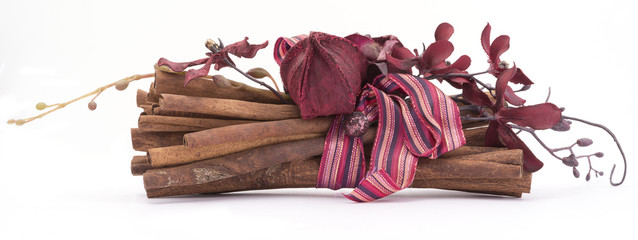 decorated sticks of cinnamon isolated