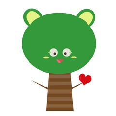 tree cartoon falling in love