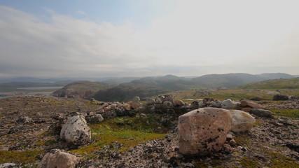 polar tundra and stone heaps  human ancient