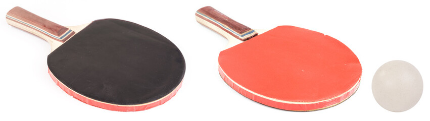 ping pong rocket and ping pong ball isolated