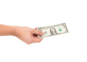 Dollar bill in hand
