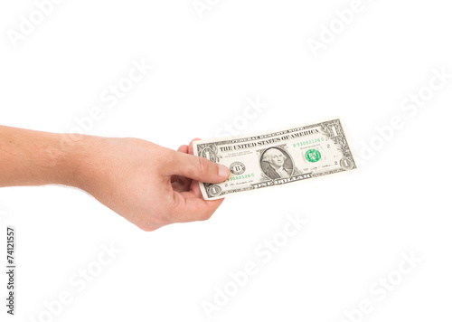 Keuken foto achterwand Boodschappen Dollar bill in hand