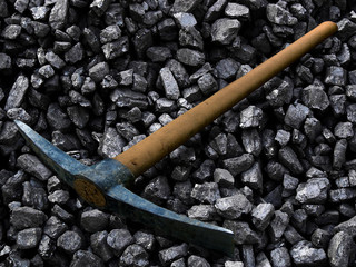 Coal mining by hand.