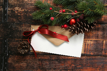 Christmas envelope with ribbon and decorations