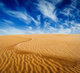 Desert sand dunes on sunrise