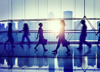 Back Lit People Walking Mall Cityscape Shopaholic Concept