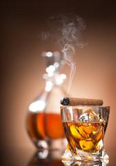 Cigar on glass