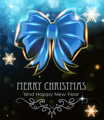 Blue Christmas bow on holiday background