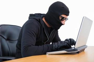 Burglar in sunglasses using laptop