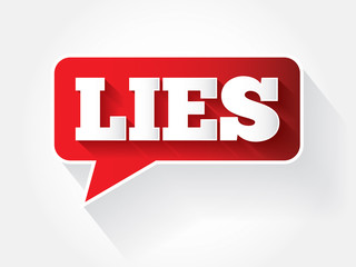 LIES text message bubble, vector background