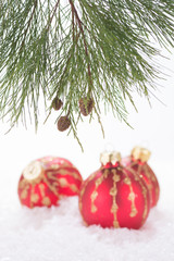 Red Christmas baubles in snowflakes and pine tree branch