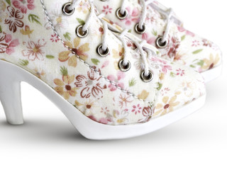 Victorian style boots in floral pattern