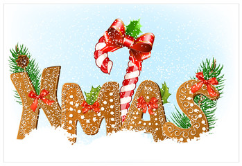 Christmas snow background with Gingerbread cookies.
