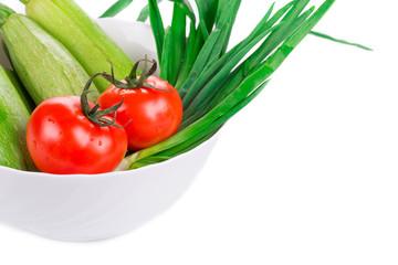 Vegetables on white.