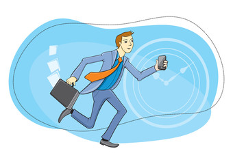 Businessman with phone in hand running