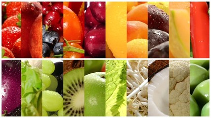 close up of diverse fruits and vegetables, montage