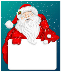 Santa Claus holds banner for text