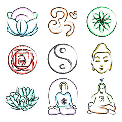 doodle icons of yoga