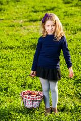 Girl picnic basket fruits