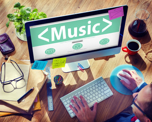 Digital Online Music Arts Office Working Concept