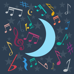 Vector night music background in flat design