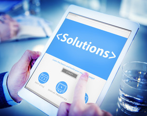 Digital Online Solutions Innovation Strategy Working Concept