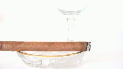 Cuban Cigar burning in ashtray