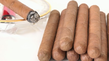 Stack of handrolled Cuban cigars