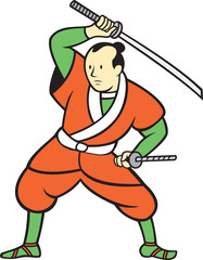 Samurai Warrior Wielding Katana Sword Cartoon