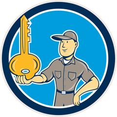 Locksmith Balancing Key Palm Circle Cartoon